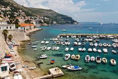 Panorama del porticciolo di Dubrovnik Fotografie Stock