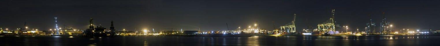 Panorama del porto di Rotterdam Immagini Stock Libere da Diritti