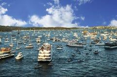 Panorama del porto di Sydney preso su 19 del febbraio 2007 durante la visita della nave da crociera della regina Elizabeth 2 Immagine Stock