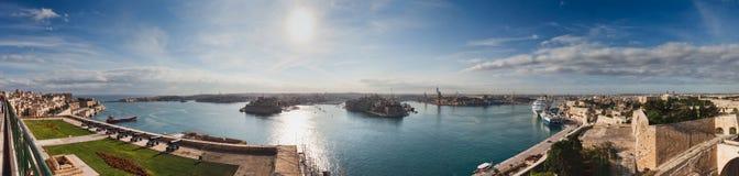 Panorama del porto di Valletta, Malta Fotografie Stock Libere da Diritti