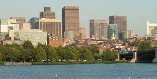 Panorama del porto e dell'orizzonte di Boston Fotografia Stock