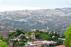 Panorama del pueblo blanco de Mijas Costa del Sol, Andalucía SP Imagen de archivo libre de regalías