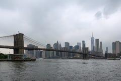 Panorama del puente de Brooklyn del East River fotos de archivo libres de regalías
