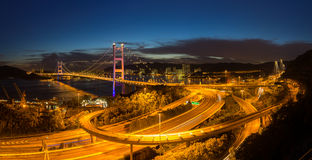 Panorama del puente de Tsing Ma Imagen de archivo libre de regalías