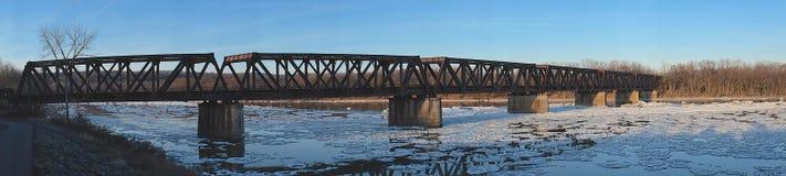 Panorama del puente del ferrocarril Imágenes de archivo libres de regalías