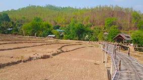 Panorama del puente tan de bambú de Ko Ku del oon, Pai, Tailandia almacen de video
