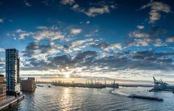 Panorama del puerto de Hamburgo foto de archivo