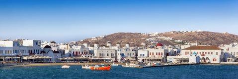 Panorama del puerto de Mykonos Imagen de archivo libre de regalías
