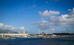 Panorama del puerto de Ponta Delgada Fotografía de archivo