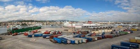 Panorama del puerto del barco de Palma Imagenes de archivo