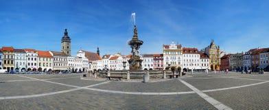 Panorama del quadrato centrale di Ceske Budejovice immagine stock