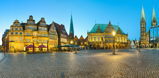 Panorama del quadrato del mercato di Brema, Germania Immagine Stock