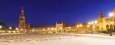 Panorama del quadrato della Spagna o di Plaza de Espana in Siviglia alla notte, Spagna immagine stock libera da diritti