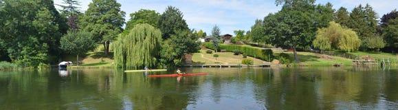 Panorama del río Ouse en St Neots Foto de archivo libre de regalías