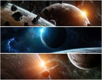 Panorama del sistema distante del pianeta negli elementi della rappresentazione dello spazio 3D Fotografia Stock