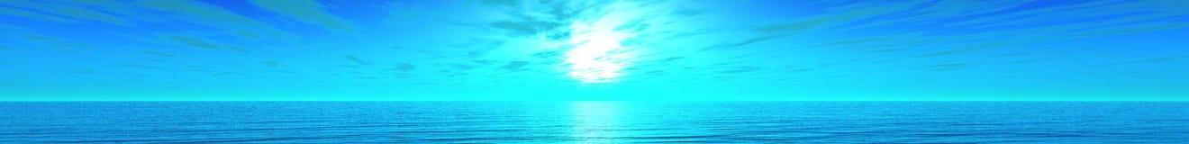 Panorama del sunse del mare Fotografie Stock Libere da Diritti