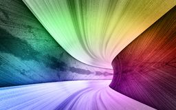 Panorama del túnel del concepto del metal del arco iris del camino libre illustration