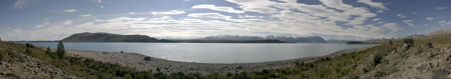Panorama del tekapo del lago in Nuova Zelanda Fotografia Stock