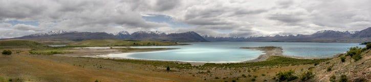 Panorama del tekapo del lago in Nuova Zelanda Immagine Stock Libera da Diritti