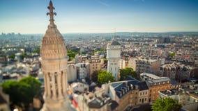Panorama del timelapse de París Visión superior desde la basílica sagrada del corazón de Montmartre Día asoleado almacen de video