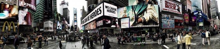 Panorama del Times Square occupato in Manhattan fotografie stock libere da diritti