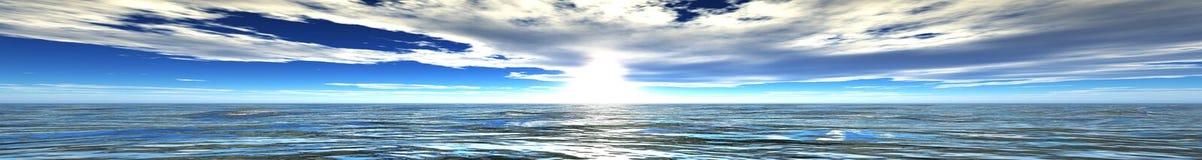 Panorama del tramonto del mare immagine stock