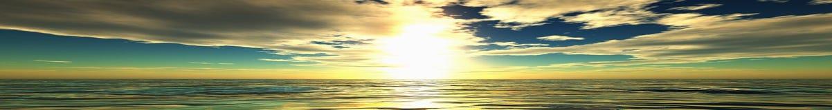 Panorama del tramonto del mare fotografia stock libera da diritti
