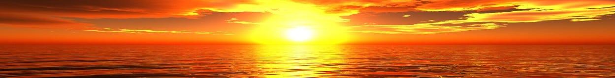 Panorama del tramonto del mare Immagini Stock