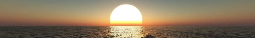 Panorama del tramonto del mare, alba Fotografia Stock Libera da Diritti