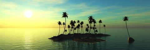 Panorama del tramonto del mare, alba fotografia stock