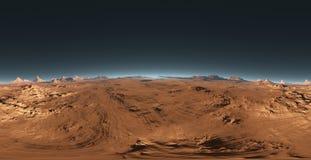 Panorama del tramonto di Marte, mappa dell'ambiente HDRI Proiezione di Equirectangular, panorama sferico Paesaggio marziano illustrazione di stock