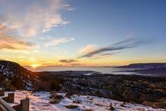 Panorama del tramonto nel parco nazionale del dinosauro Fotografie Stock