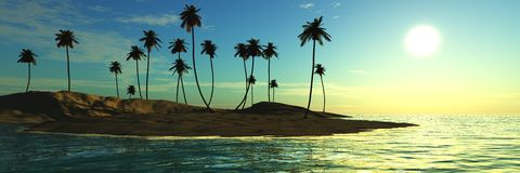 Panorama del tramonto sul mare isola Vista sul mare palme fotografia stock libera da diritti