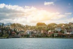Panorama del Vietnam della valle di sapa di bella vista nell'alba di mattina con la nuvola di bellezza immagini stock libere da diritti
