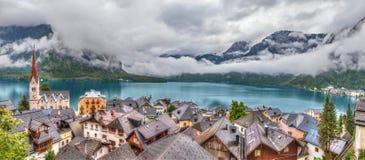 Panorama del villaggio di Hallstatt Immagine Stock
