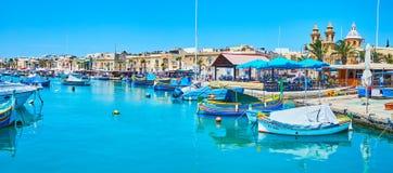 panorama del villaggio di Marsaxlokk, Malta fotografia stock