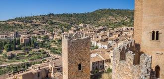 Panorama del villaggio medievale di Alquezar Fotografie Stock