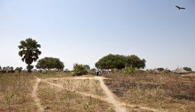 Panorama del villaggio nel Sudan del sud rurale Fotografia Stock Libera da Diritti