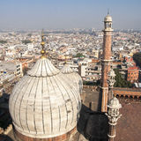 Panorama of Delhi Jama Masjid Mosque minaret Royalty Free Stock Photo