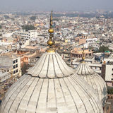 Panorama of Delhi Jama Masjid Mosque minaret Stock Image