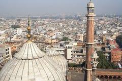 Panorama of Delhi Jama Masjid Mosque minaret Royalty Free Stock Image