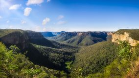 Panorama dell'allerta di salto di Govetts, Blackheath, Australia Fotografia Stock Libera da Diritti