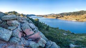 Panorama dell'antenna del bacino idrico di Horsetooth Fotografia Stock