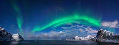 Panorama dell'aurora di Flaget immagini stock libere da diritti