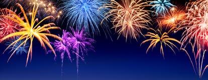 Panorama dell'esposizione dei fuochi d'artificio Immagini Stock