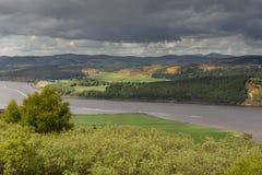 Panorama dell'estuario di Dornoch sotto il cielo nuvoloso, Scozia Immagini Stock Libere da Diritti