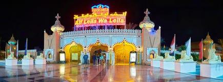Panorama dell'ingresso del palazzo della fantasia, Sharm el-Sheikh, Egitto fotografia stock