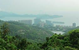 Panorama dell'isola di Lamma e di Hong Kong dal picco di Victoria immagine stock libera da diritti