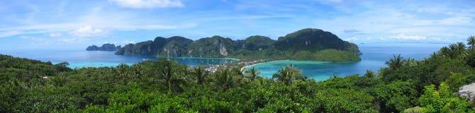 Panorama dell'isola di Phi di Phi di Ko, mare di Andaman Fotografia Stock