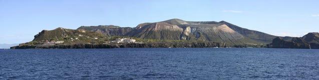 Panorama dell'isola Vulcano Fotografia Stock